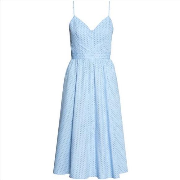 0e5e22077316 H&M Dresses | Nwt Hm Blue Polka Dot Midi Dress Sz 6 | Poshmark
